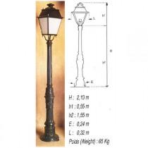 Pied pour lanterne extérieure Loiselet, hauteur 1,8/2m, l'unité