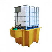 Bac de Rétention 1100l pour 1 IBC Jaune Caillebotis Plastique Engels
