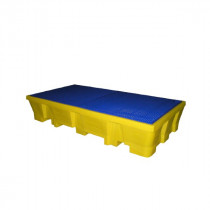 Bac de Rétention 1050l pour 2 IBC Jaune Caillebotis Plastique Engels