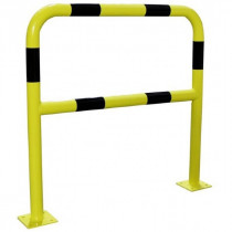 Barrière Protection 2x1m Noir Jaune ø 60 mm avec Platine Viso BAR620NJ