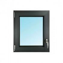 Fenêtre 1 Vantail PVC Gris 7016 45x40 cm Oscillo Battant Tirant Gauche