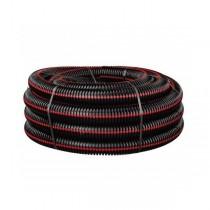 Gaine TPC noire bande rouge Ø 75 mm en couronne de 50 ml, la couronne