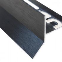 Profilé Goutte d'eau Aluminium Noir Brossé pour Carrelage 21 mm x 2,5 m