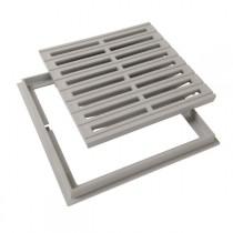 Grille de sol PVC 30 x 30 cm gris clair Nicoll GRC30 avec cadre