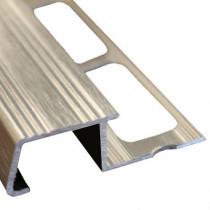 Nez de Marche en Aluminium Brossé pour Carrelage 13 mm x 3 m