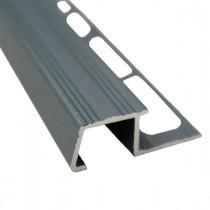 Nez de Marche en Aluminium Gris Sable pour Carrelage 13 mm x 3 m