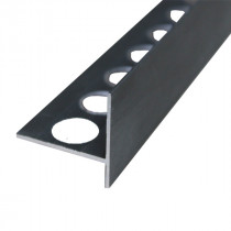 Nez de Marche en Aluminium Noir Brossé pour Carrelage 21 mm x 2,5 m