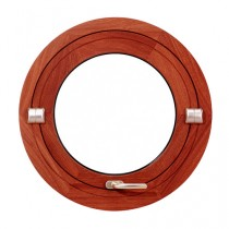 Oeil de boeuf basculant en bois exotique, rond diamètre 70 cm