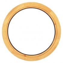 Oeil de boeuf fixe en bois exotique, ovale 65 x 50 cm