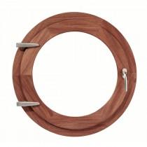 Oeil de boeuf ouvrant à la française en bois exotique, ovale 65x50 cm