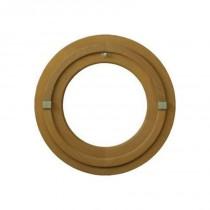 Oeil de boeuf vitré rond en bois exotique, diamètre 60 cm