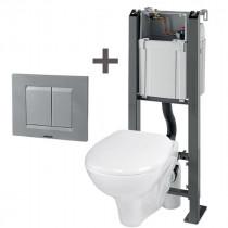 Bâti-Support WC Suspendu Wirquin Chrono + Plaque et Abattant 55720628