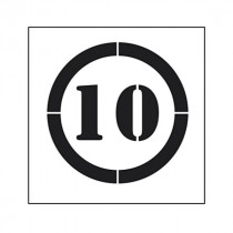 Pochoir symbole Limitation vitesse 10 km/h 45x40cm