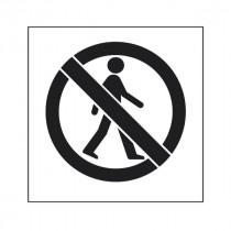 Pochoir symbole Pas l'accès des piétons 45x40cm