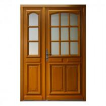 Porte d'entrée vitrée Bois exotique Isa, 215x140cm, poussant droit