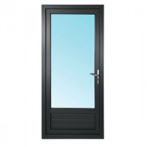 Porte Fenêtre 1 Vantail PVC Gris 7016 205x90 cm  Tirant Gauche