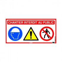 Panneau de Chantier Interdit au Public 4 en 1, 800 x 400 mm