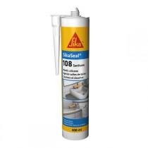 Mastic silicone SIKASEAL 108 Blanc pour sanitaire, carton 12x300 ml