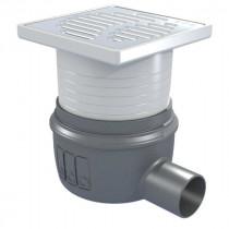 Siphon Douche Showerdrain Easyflow Plastique ACO 100x100 brillant GE30mm DN50 Horizontal