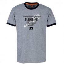 Tee-shirt Bosseur Plombier Gris-chiné
