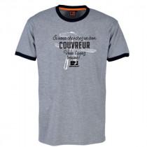 Tee-shirt Bosseur Couvreur Gris-chiné