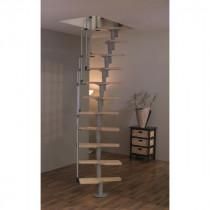 Escalier Modulaire Gain de Place Hêtre et Métal Fritz Twister 130 x 63 cm