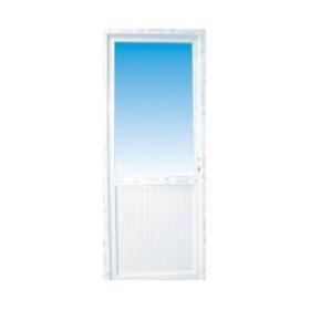 Porte de service pvc 1/2 vitre granitée poussant droit, 205 x 80 cm
