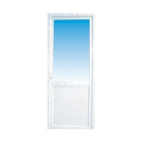 Porte de service en PVC 1/2 vitrée gauche, 205 x 90 cm