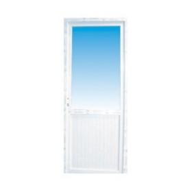 Porte de service pvc 1/2 vitre granitée poussant gauche, 205 x 90 cm