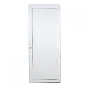 Porte de service pvc panneau plein poussant gauche, 205 x 80 cm