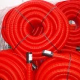 Gaine TPC rouge Ø 63 mm en couronne de 25 ML, la couronne