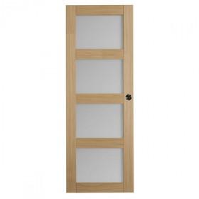Porte intérieure Quartzo chêne 4 carreaux 204x83 cm, rive droite