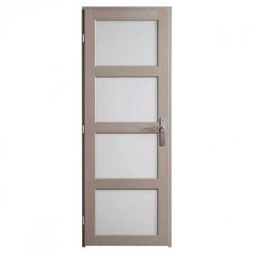 Bloc porte Quartzo chêne grisé 4 carreaux, 204x83 cm, poussant droit