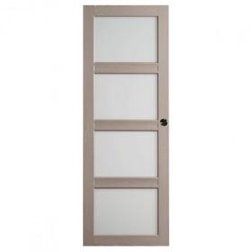 Porte intérieure Quartzo chêne grisé 4 carreaux 204x83 cm, rive droite