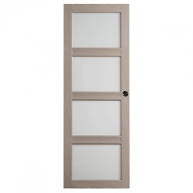 Porte intérieure Quartzo chêne grisé 4 carreaux 204x73 cm, rive droite