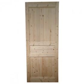 Porte intérieure en sapin 3 panneaux, 204x83 cm, traverse droite