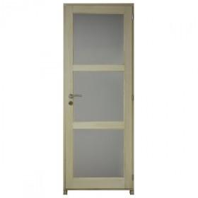 Bloc porte bois exotique clair 3 crx 204x73 cm, gauche traverse droite