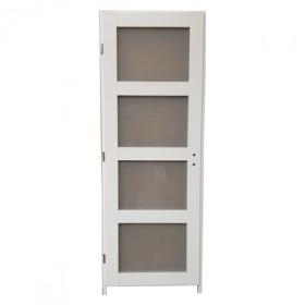 Bloc porte Quartzo 4 carreaux blanc, 204x73 cm, droite