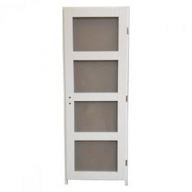 Bloc porte Quartzo 4 carreaux blanc, 204x73 cm, gauche