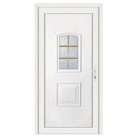 Porte d'entrée pvc Eva blanche 6 carreaux poussant gauche, 215 x 80 cm