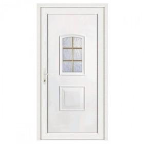 Porte d'entrée pvc Eva blanche 6 carreaux, poussant droit, 200 x 90 cm