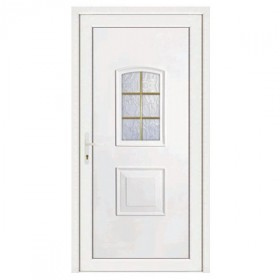 Porte d'entrée pvc Eva blanche 6 carreaux, poussant droit, 200 x 80 cm