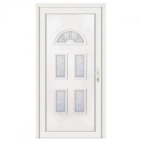Porte d'entrée pvc INES blanc 5 carreaux poussant gauche, 215 x 80 cm