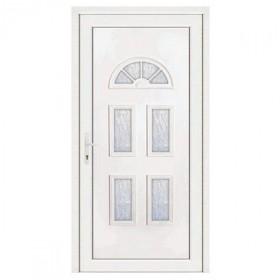 Porte d'entrée pvc INES blanche 5 carreaux poussant droit, 200 x 90 cm