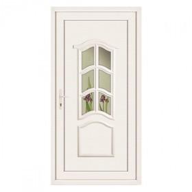 Porte d'entrée pvc JADE blanche 1 carreau poussant droit, 215 x 90 cm