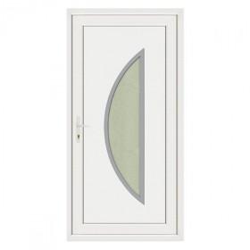 Porte d'entrée pvc LOUNA contour inox poussant droit, 215 x 90 cm