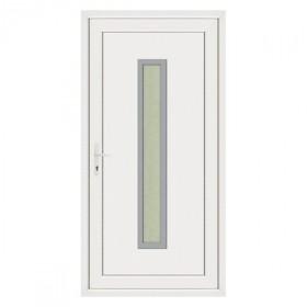 Porte d'entrée pvc JULES contour inox poussant droit, 215 x 90 cm