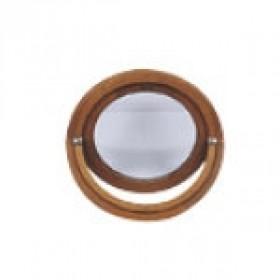 oeil de boeuf vitr ovale en bois exotique 65 x 50 cm. Black Bedroom Furniture Sets. Home Design Ideas