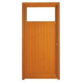 Porte de service bois exotique clem 200x80cm gauche for Porte de service vitree bois