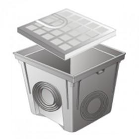 Regard PVC avec couvercle polypro 40x40 cm, gris, le lot de 2  pièces